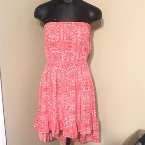 Cotton On Strapless Coral White Floral Print Dress